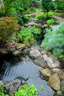 water feature with rocks