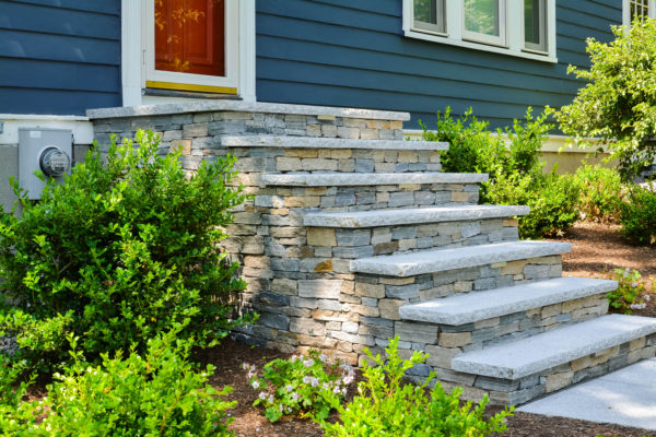 front steps made from natural stone