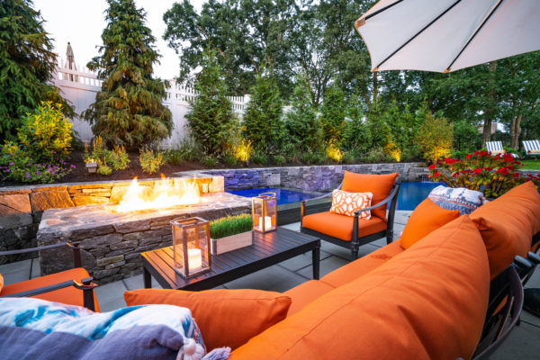outdoor patio furniture and fireplace
