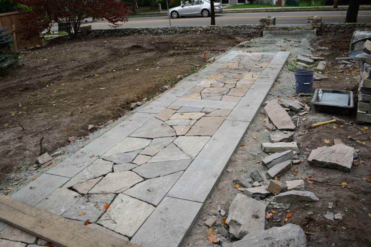 stone walkway being built