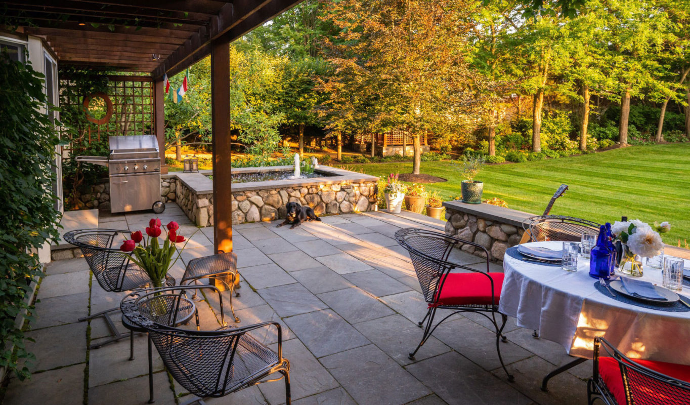 backyard patio landscape in Walpole Massachusetts