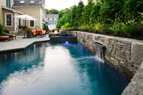 outdoor water features - pool and waterfall