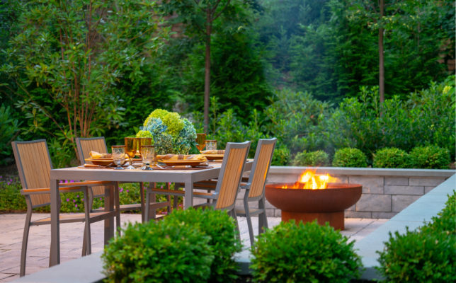 Newton, Massachusetts backyard patio and fire pit landscape