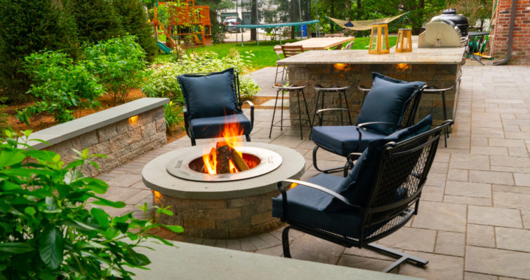 Newton, Massachusetts fire pit and patio landscape
