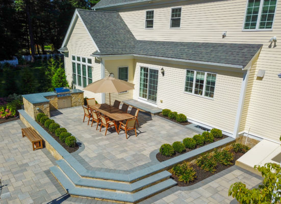 Westwood, MA backyard patio and grill island