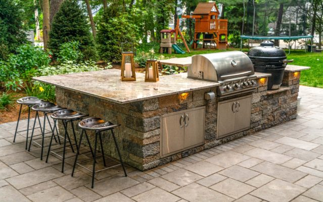 Newton Massachusetts stone grill island patio landscape