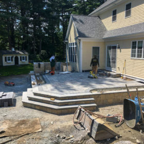 Construction of the upper-patio area for the Westwood landscaping project.
