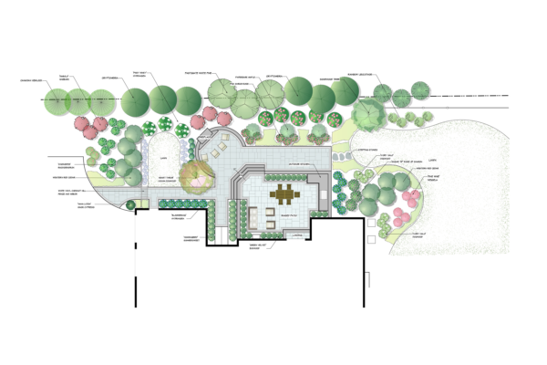 Landscape design drawing of Westwood case study.